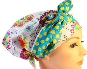 Scrub Hat Cap Chemo Bad Hair Day  European BOHO Banded Pixie Tie Back Mod Floral Green Dot Band 2nd Item Ships FREE