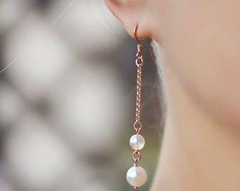 White Pearl Earrings Long Pearl Earrings Gold Pearl Earrings Earrings 925 Silver Rose Gold Plated Pearl Chain Earrings Delicate Earrings