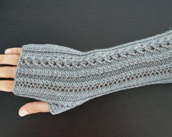 100% Merino Wool, grey fingerless mittens
