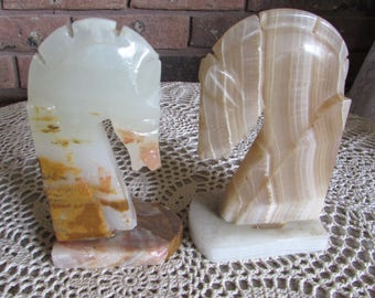 Mismatched Horse Head Marble Bookends.