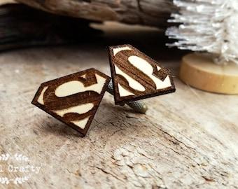 Superman Wooden Cufflinks Superhero Dad Grooms Best man Groomsman Rustic Wedding Birthday Gift Cuff links