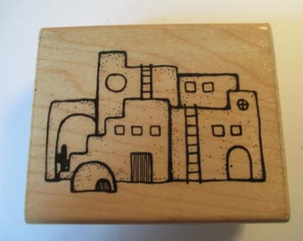 "Rubber Stamp Southwest "" Pueblo"" slightly used good condition"