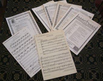 "Vintage Choral/Choir Music to Stain for Junk Journals, 10 1/2"" x 6 3/4"" G. Schirmer's Church Music, Westminster Choir, & ""Alleluja"" Music"