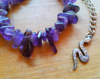Amethyst bracelet with snake charm