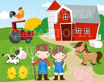 50% OFF SALE Farm Digital Clipart / Barnyard Clipart / Farm Animals For Personal And Commercial Use / Instant Download