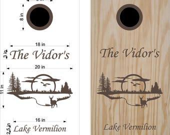 Lake - Deer- Cornhole Decals- Wedding Cornhole- Anniversary Gift- Personalized Cornhole- Custom Cornhole Decals-