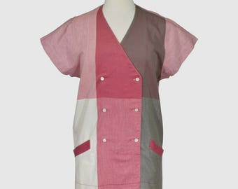 Arola Finland Vintage 1980s Sheath Shift Dress Color Block Cotton Fabric Cream Raspberry Brown Modern Scandinavian Nordic Design Medium