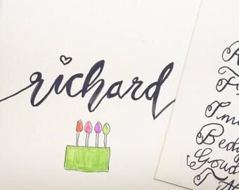 Personalised brushstroke birthday cake card