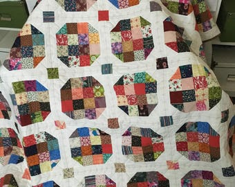 Sixteen Block Snowball Scrappy Throw Quilt Gift Self FREE SHIPPING