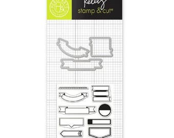 Hero Arts  Clearly Kelly - KELLY'S FLAGS Stamp & Cut set -  banners and flags cutting die set DC199 cc02 SD028