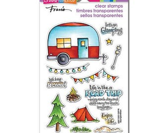 Stampendous CAMPGROUND Clear stamp set acrylic camper tent road trip SSC1253 cc02