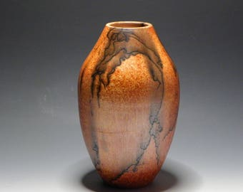 Raku/Horsehair Raku/Burnt Orange/Ceramic Vase/Handmade/OOAK/HomeDecor