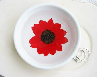 Red Sunflower Ceramic Dish, Pressed Flower Dish, Real Flower ring Dish, Rustic Bridal Gift, Decorative Dish, Jewelry Organizer