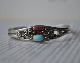 Vintage Sterling Bangle, Coral and Turquoise - 1960s Signed, Handmade Sterling Bracelet