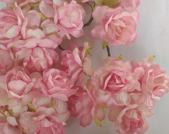 20 Jumbo Pink Mulberry Roses Paper  Flowers  Size  1.8  inch or 45mm Bulk Price  Embellishment Scrapbooking