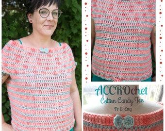 Cotton Candy tee - Boxy Top Crochet Pattern - Striped crochet Pattern - Crochet t-shirt Pattern -  Shell Design Crochet Pattern