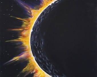 6x6 Custom eclipse art, solar eclipse painting, Paintings, Path to totality, 2017 solar eclipse art, science, astronaut, in outer space,