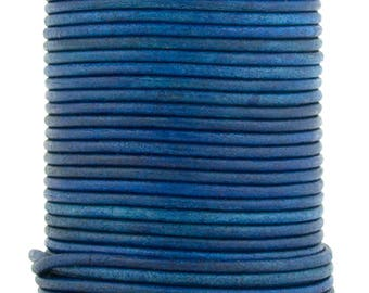 Royal Blue Natural Dye Round Leather Cord 2mm 25 meters (27.34 yards)
