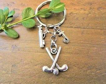 GOLF KEYCHAIN with initial charm - golf clubs, golf bag - keychain for golfer - Please see all photos to order