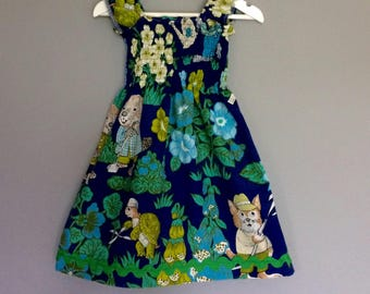 Girls summer dress / vintage fabric/ Richard scarry