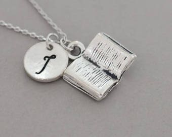 Handmade Sterling  Silver Open Book  Necklace Pendant - Sterling  Silver mini book  necklace pendant - open book  necklace for gift