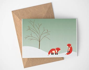 Fox Card, Mr Fox Card, Cozy Winter Card, Card with Snow,Wildlife Card, Holiday Card without Words, Non-Religous Holiday Card