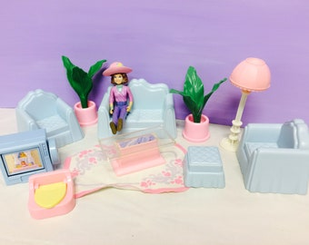 Playskool Dollhouse Furniture, Living Room Set, Toy Lot, Vintage 90s Playskool House, Cute Girl Toys, Couch and Chairs, TV Lamp Coffee Table