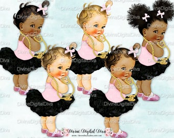 Ballerina Black Pink Tutu Pearls Rhinestone Shoes | Vintage Baby Girl | Clipart Instant Download
