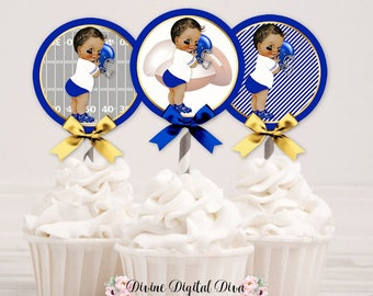 Football Cupcake Topper Circles | Royal Blue White Gold |  Medium Tone Vintage Baby Boy | Digital Instant Download