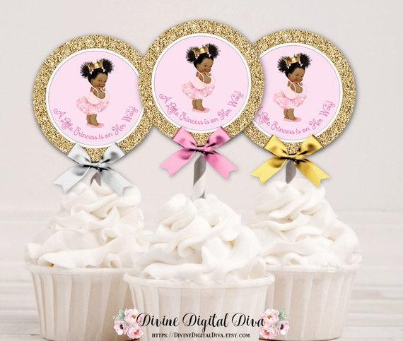 Cupcake Topper Circle Princess Ballerina Pink Tutu Amp Gold