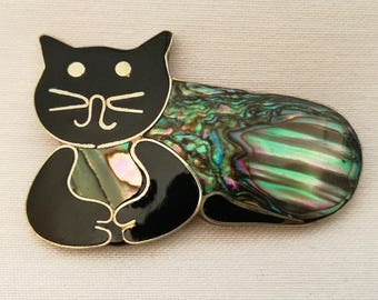 Black Cat, Vintage Brooch, Cat Lover Gift, Cat Jewellery, Iridescent Shell & Jet Enamel, Mexican Jewelry, Vintage Abalone, Pet Memorial, 80s