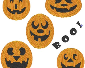 Five Pumpkins Boo Halloween Machine Embroidery Design 4x4 and 5x7 Instant Download Linda's Hemstitching