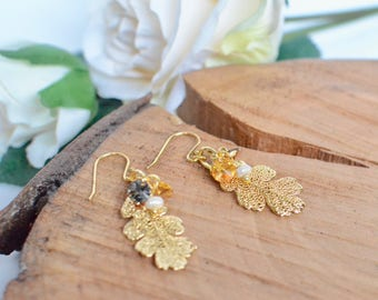 Real Leaf Earrings, Gold Earrings, Oak Leaf Earrings, Gold Dipped Earrings, Botanical Earrings, Woodland Leaf Earrings, Boho Earrings