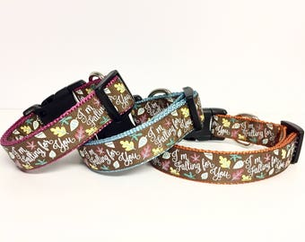 Glitter Falling For You - Dog Collar - Halloween - Fall - Thanksgiving - Gift - Puppy - Leaves - Autumn - Season -