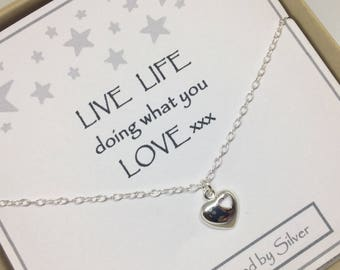 Sterling Silver Two Heart Charm Necklace - a perfect gift with a perfect message