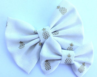 Cream with Metallic Gold Pineapples Handmade Fabric Hair Clip or Headband Bows