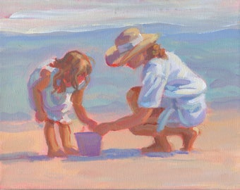 Mama and Me 8. Original acrylic painting on stretched canvas 8 x 10 .  Mother and child on the beach, impressionism,  Lucelle Raad  Art