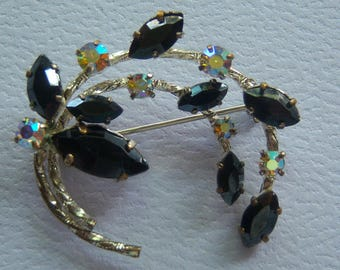 Vintage Black Brooch. Black And AB Stones.