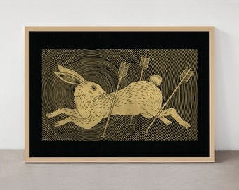 Run Rabbit Run (GOLD INK) - Linocut Print - Limited Edition Poster
