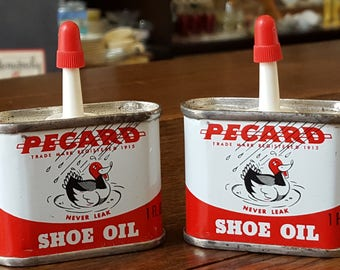 Two (2) Pecard Shoe Oil (New Old Stock - Never Opened) 1 fl. oz. tin cans full