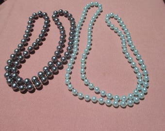 Retro Blue & Grey Beaded Long Necklaces