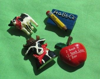 Lot Of Retro School Theme & Cow Plastic Button Covers