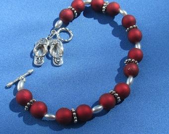 Retro Red Matte Beaded  Sandal Charm Bracelet