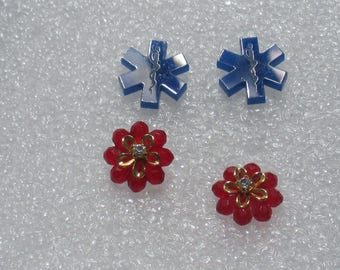 Retro Red Flower Rhinestone & Blue Plastic Snake Pierced Earrings