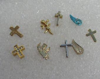 Lot Of Retro Single Odd Cross Angel Wings Cherub Pierced Earrings Lapel Pin