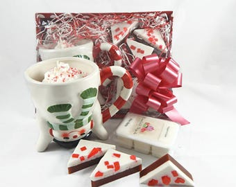 Christmas Gift Basket - Peppermint Hot Cocoa Candle, Peppermint Bark Soap & Wax Melts