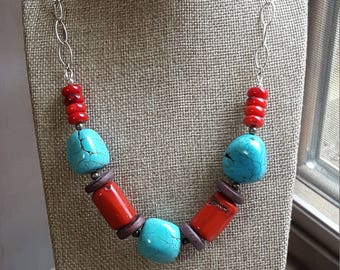 Genuine Turquoise, Coral and Wood Beaded Necklace with Pyrite Accents, Sterling Silver