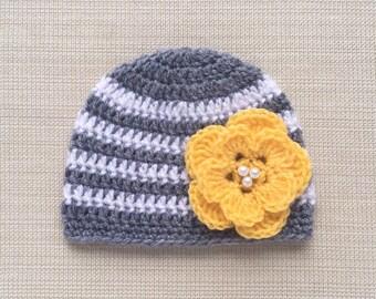 Crochet newborn girl hat Newborn Photo prop hat Baby girl hat New born girl hat Crochet baby hat Girl Newborn beanie with flower Newborn hat