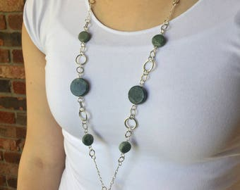 Green Marble Lanyard Necklace - Beaded Lanyard