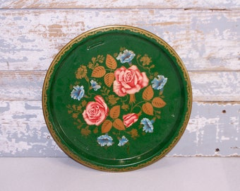 Toleware Tray Green Metal Tray Round Vitnage Tole Servingt Tray with Pink Roses Blue Flowers Gold Leaves By MTM in England Tole Tray Barware